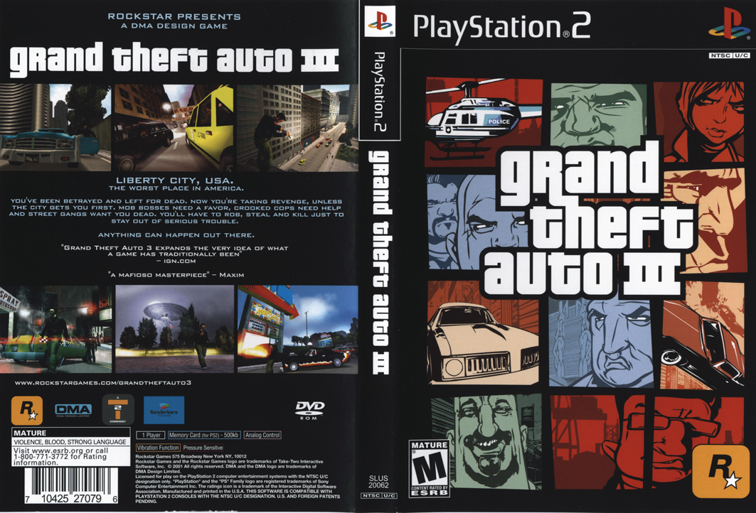 Ps2 central gta3 case insert for 2 1 2 box auto